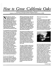 How to Grow California Oaks - PDF